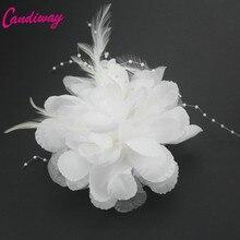2017 Moda Branca de Alta Qualidade Meninas Elegância Grampos de Cabelo de Pano Flores Garras Plásticas Do Cabelo Headbands Para Mulheres Acessórios de Cabelo