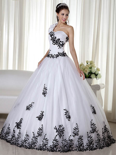 127293f3b78 Online Shop Black And White Tow Toned Vintage Ball Gown Wedding Dresses  1950s Princess One Shoulder Corset Non White Colorful Bridal Gowns