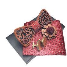 Деревянный мужской галстук-бабочка галстук для вечерние галстуки для мужчин деревянный галстук-бабочка Свадебный Карманный квадратный деревянный брошь запонки набор с коробкой