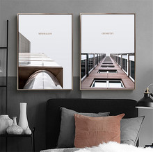 Modern Minimalist Decorative Nordic Poster Architecture Wall Art Canvas Painting Building Posters And Prints Decoration Unframed