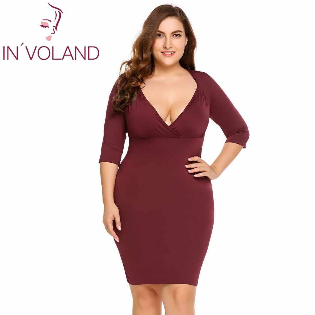 IN VOLAND Women Bodycon Dress Plus Size Sexy V-Neeckline 3 4 Sleeve 5da42d3b0762