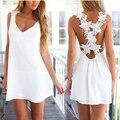 2016 Nueva Casual Mujeres de Playa Backless Atractivo Vestido de Ganchillo Vestidos Femininos Gasa Verano de Las Mujeres Vestidos de Encaje Blanco Más Tamaño
