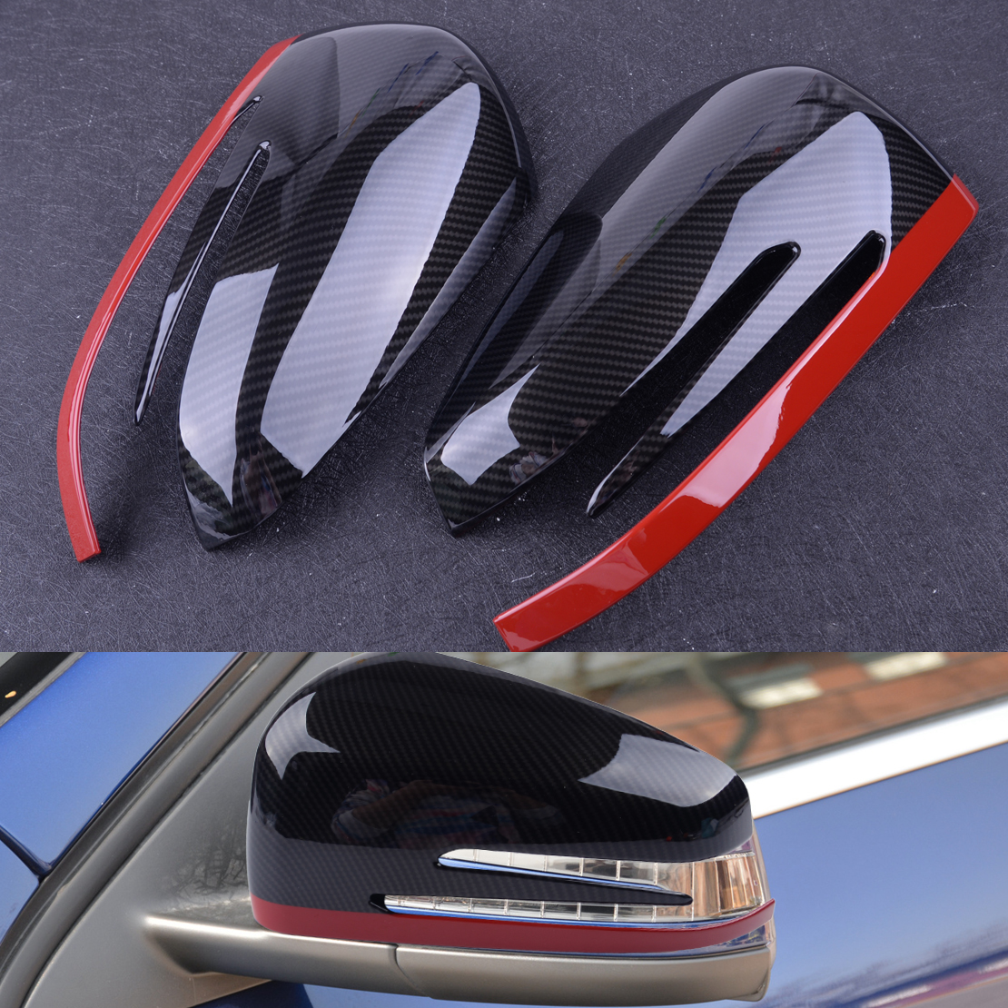 beler 2Pcs ABS Rear View Mirror Protection Trim Fit for Mercedes Benz A CLA GLA GLK Class W117 W176 2014 2015 2016 2017