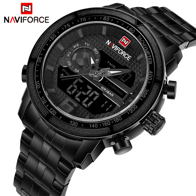 NAVIFORCE Luxury Brand Full Steel Watch Men Army Military Sport Quartz Wrist Watches Men's Digital LED Clock relogio masculino naviforce luxury brand men sport leather watches men s quartz digital led clock male army military wrist watch relogio masculino