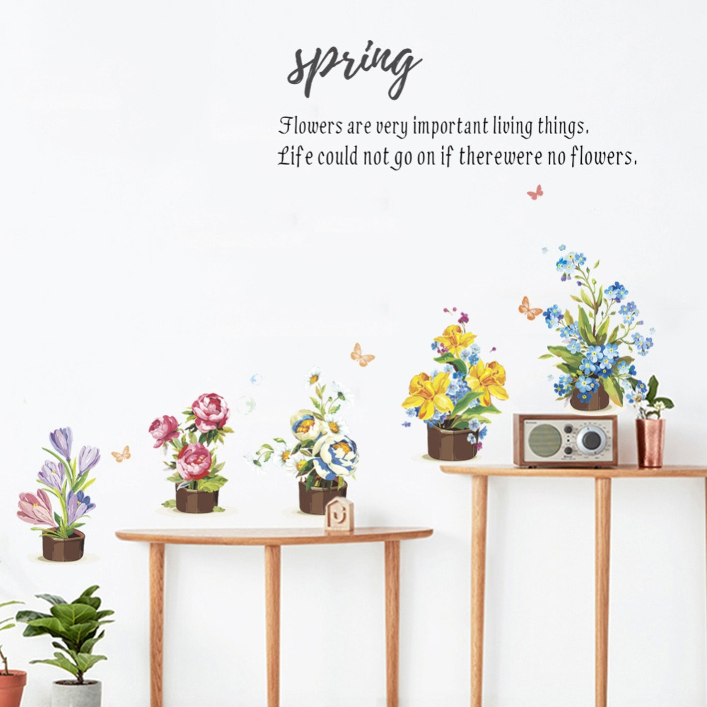 c4f82106d Spring Quotes plant Flowers butterfly wall Stickers Home Living Room  Decorations Sticker On The Cabinet