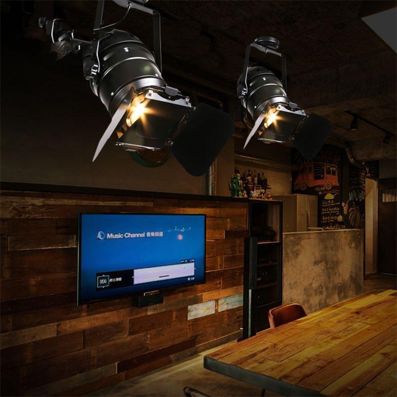 Us 138 06 41 Off Loft Retro Track Lighting Plafonnier Style American Living Room Restaurant Bar Clothing Iron Art Led Spot Lamps In