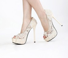 14cm High Heel Lace Shoes Peep Toe Net Pumps Gown prom Shoes Summer Sandal Free Shipping Wedding Bridal Shoes Women