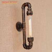Retro black metal New design vintage Water pipe wall lamps with led/edison e27 lights for loft bar bedside bedroom living room
