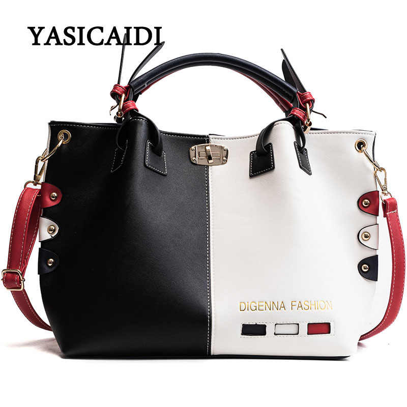 2916f38b0c3 Bag Women Handbag Fashion Women Bag PU Leather Tote Bag Ladies Designer  Patchwork Handbags Female Casual Large Shoulder Bag