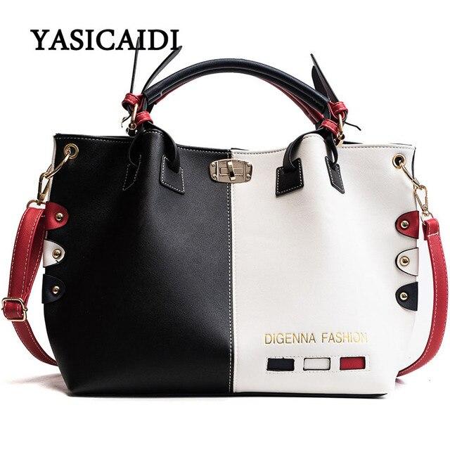 กระเป๋าถือผู้หญิงกระเป๋าแฟชั่นผู้หญิงกระเป๋าหนัง PU กระเป๋าสุภาพสตรีออกแบบ Patchwork กระเป๋าถือหญิง Casual กระเป๋าสะพายขนาดใหญ่
