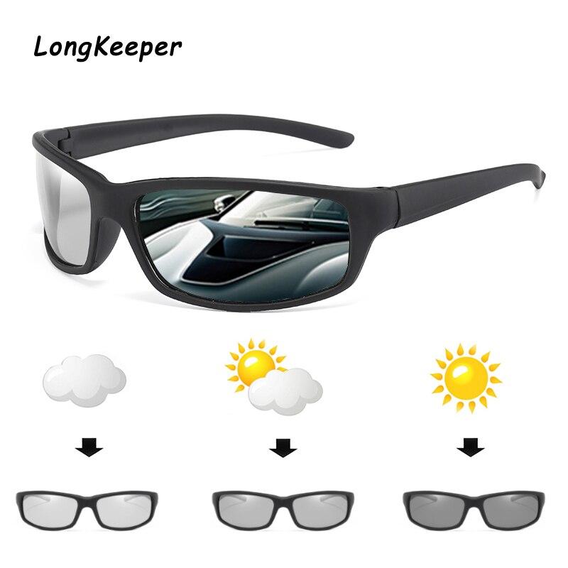 Longkeeper 2020 Brand Square Photochromic Sunglasses Men Polarized Glasses Retro Women Sunglasses Driving Black UV400 Gafas De