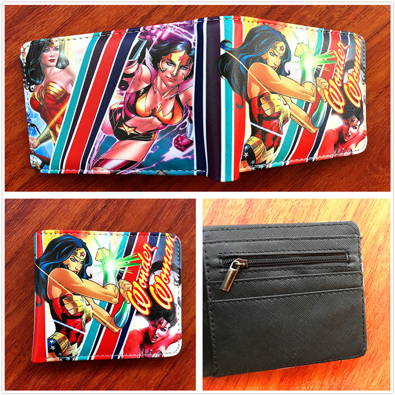 2018 New arrivel Wonder Woman Anime Colorful Leather Short Wallet Comics Folding Purse Multi-card bit-Wallet w680