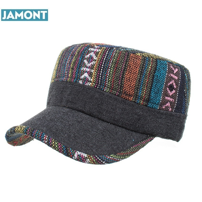 JAMONT New Winter Femal woman Adjustable flat cap Military Hats Fashion pattern Leisure Casual Western Style Snapback HAT P012