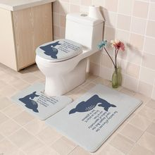 Three-piece 2019 Bathroom Carpet Bath Mat Set Toilet Rugs Nordic Cover Floor Cushion With Printed Non-slip Mats