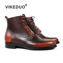 VIKEDUO New Autumn Ankle Motorcycle Boots Men Full Brogue Patina Black Bespoke Male Handmade Genuine Leather Botas Hombre