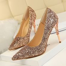 Women Pumps Shoes Sequined Cloth Pointed Toe Slip-On 9.5cm Carved Metal Thin High Heel Sexy Wedding Lady Club Party Female Shoes esveva blue sexy party summer women shoes thin high heel woman pumps pointed toe sequined cloth ladies wedding shoe size 34 43