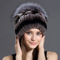 Winter Fur Hat for Women Real Rex Rabbit Fur Hats with Silver Fox Fur Flower Knitted Beanies Caps New High end Women Fur Cap