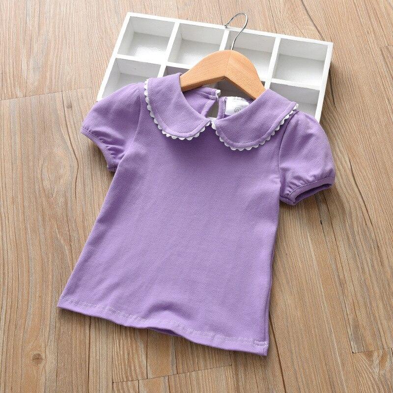 Boneca de Colarinho branco T-Shirt Da Menina das Crianças de Algodão de Manga Curta Assentamento Camisa Atacado 0-6 Anos
