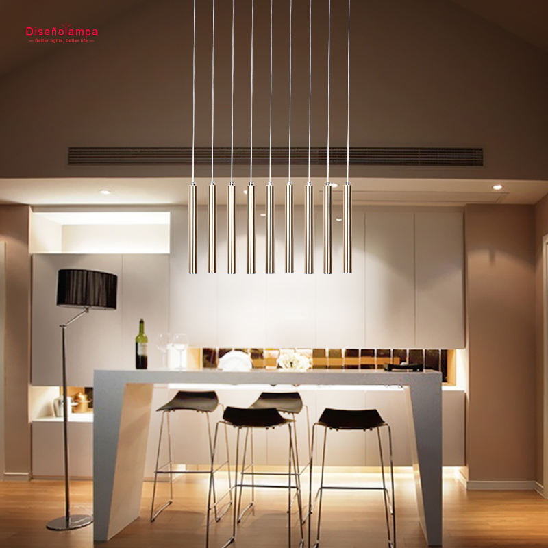 Contemporary Matte Gold / Silver Aluminum Column Led 3W Suspended Lamp for Dining Room Lounge Bar Bedside Decoration Drop Light