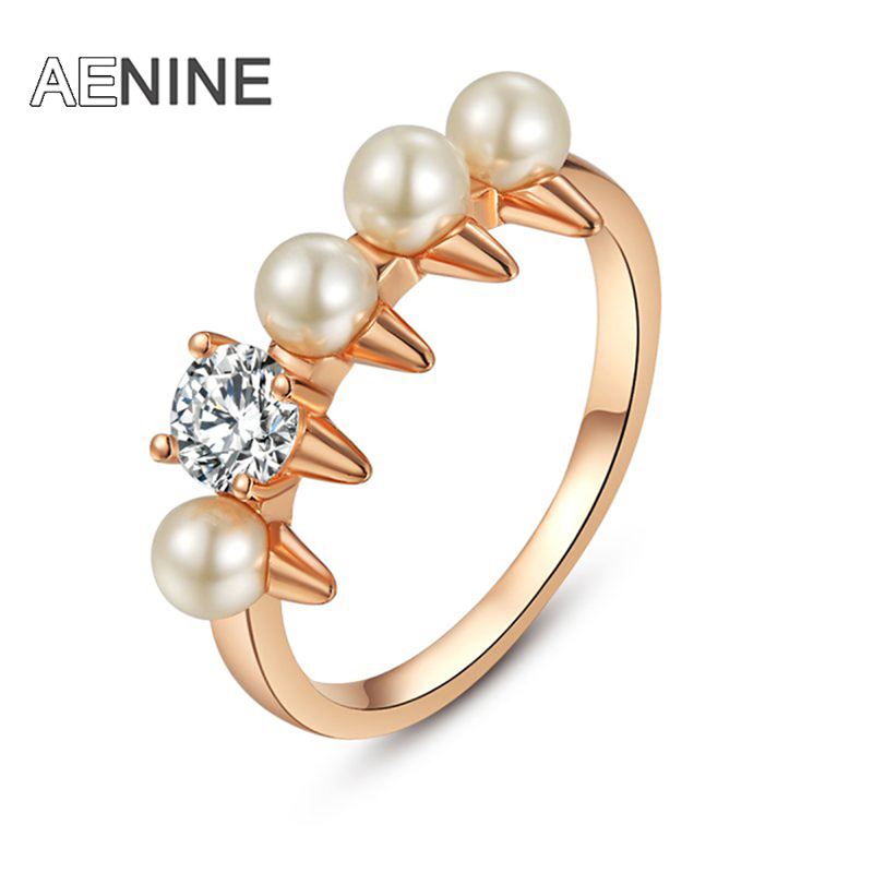 AENINE Trendy White Simulated Pearl Rings Pave Setting CZ Crystal Wedding Rings Bridal Sets Jewelry For Women Anneau L1010145330