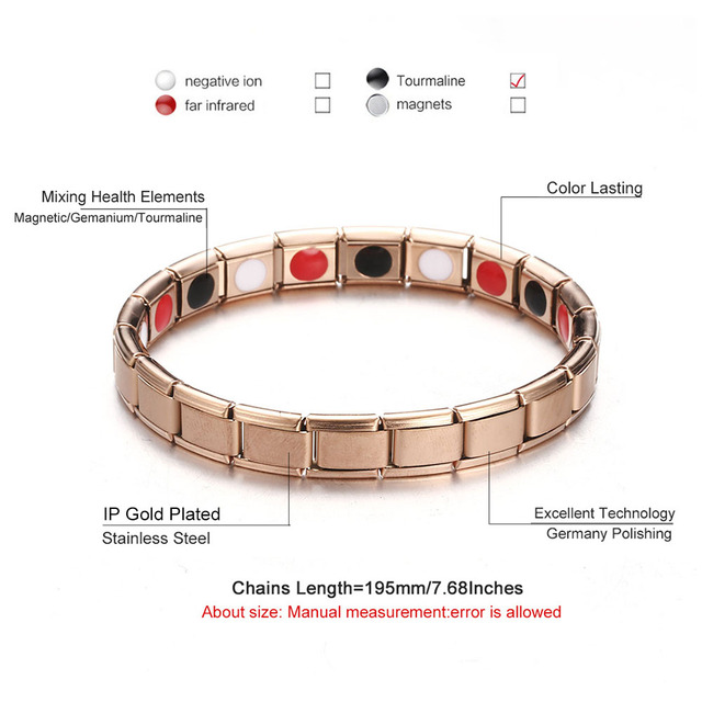 Rose Gold Black Color Stainless Steel Bio Energy Elastic Bracelets