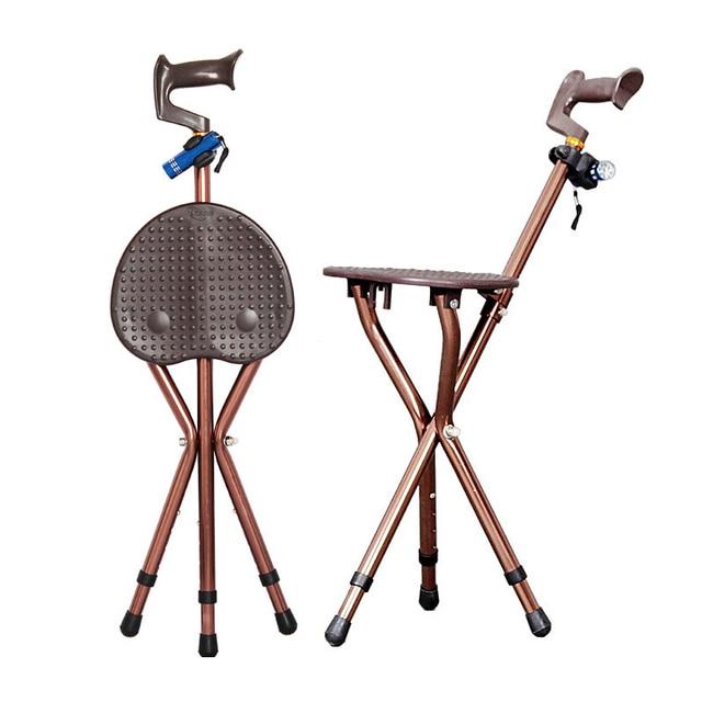 Adjustable Folding Walking Cane Chair Stool Massage
