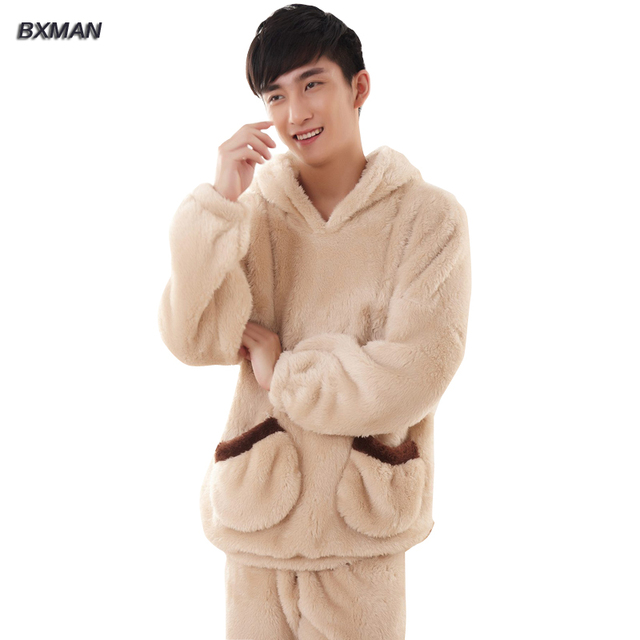 BXMAN Brand Men's Winter Pijamas Hombre Casual Solid Pajamas Polyester Hooded Collar Full Sleeve Flannel Pajamas For Couples 74
