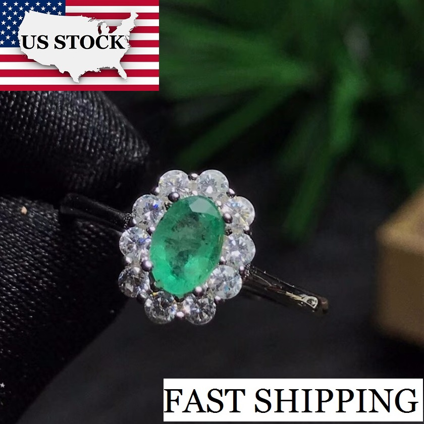US STOCK Green Emerald Ring, Flower Rings, 925 Sterling Silver, 4*6mm Gemstone May Birthstone Jewelry Gift For Women FJ202 10%