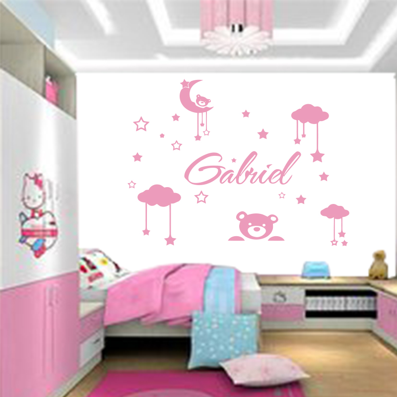 personality name cute teddy bear, moon, star wall sticker small