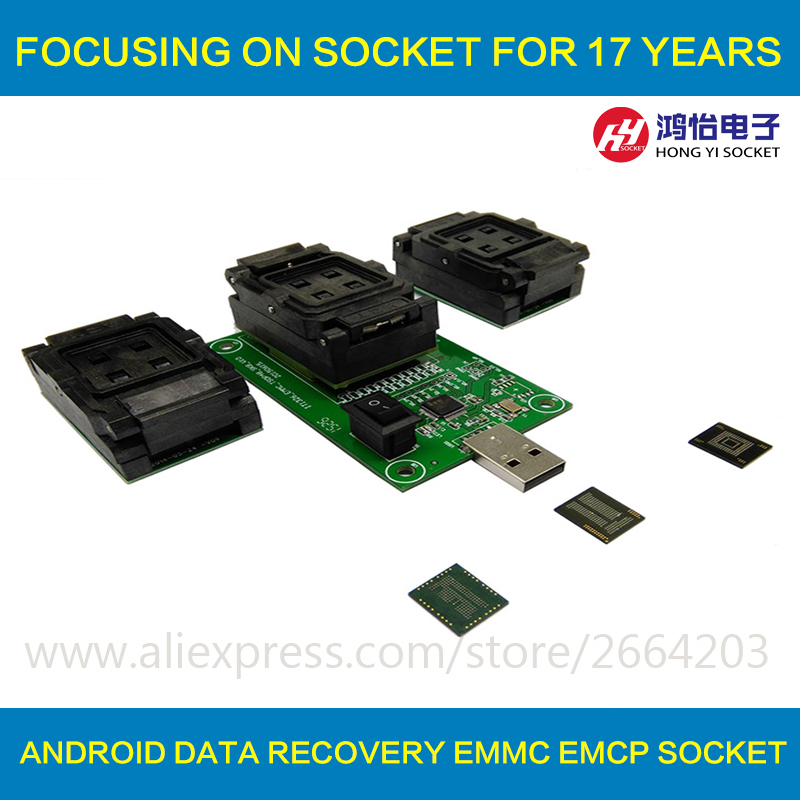 3 IN 1 eMMC eMCP Testsockel BGA153/169 BGA162/186 BGA221 Reader 11,5x13mm 12x16mm 12x18mm 14x18mm Flash Daten Recovery