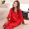 Sleepwear Pajamas Sets For Women Silk Red Bride Square Collar Twinset Nightwear Lounging Pants L-3XL