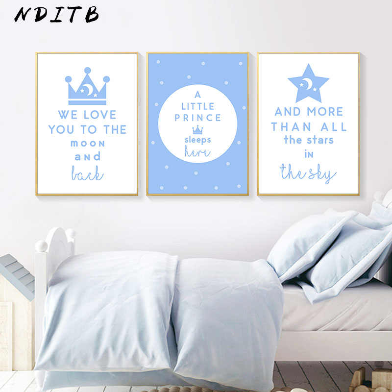 Baby Nursery Wall Art Canvas Painting Blue Cartoon Art Poster Print Nordic Kids Decoration Pictures Baby Boy Bedroom Decor