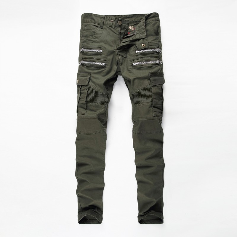 2016 New Mens Camouflage Jeans Motocycle Camo Military Slim Fit Famous Designer Biker Jeans With Zippers Men Jeans CHOLYL