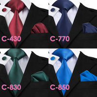 Solid Silk Mens Ties Neck Tie Set for Men Suits Tie Handkerchief Cufflinks Gravatas Ties for Men Wedding Vestidos Corbatas 5