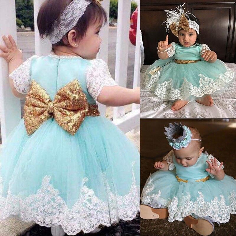 цена на 0-4Y Princess Toddler Baby Girls Infant Newborn Bowknot Lace Mini Dress Kids Wedding Party Pageant Tulle Tutu Dresses Sundress