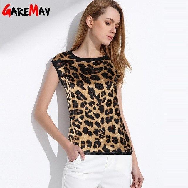 Camisa Blusa Mulheres Chiffon Elegante Sem Mangas de seda de Leopardo Impresso Leopard Blusa De Cetim De Seda Blusas Partes Superiores Das Mulheres E Blusas