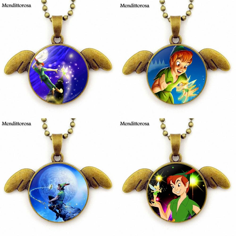 Mendittorosa For Men Women Gift Glass Cabochon Round Bronze Angel Wings Pendant Necklace Jewelry Gifts Peter Pan and Tinkerbell