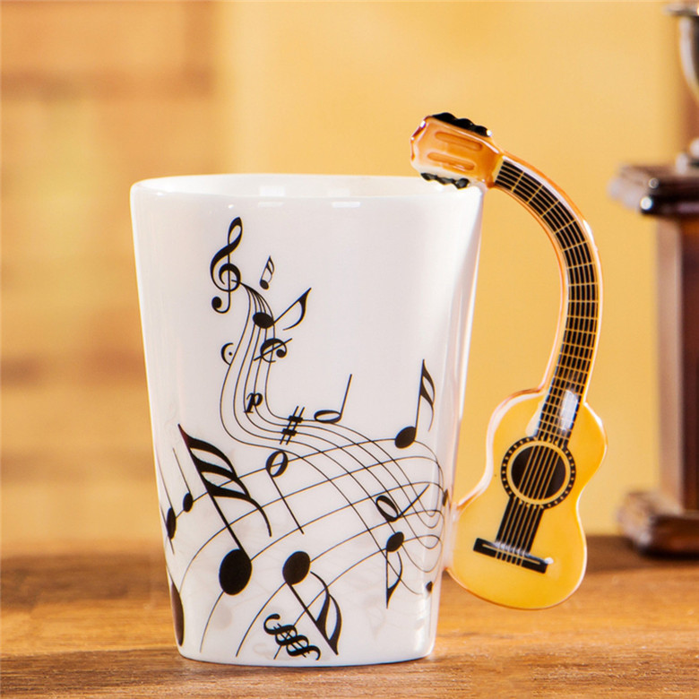 400ml Music Mug Creative Violin Style Guitar Ceramic Mug Coffee Tea Milk Stave Cups with Handle Coffee Mugs Novelty Gifts