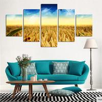 5 Pieces Unframed Gold Field Scenery Canvas Painting Pastoral View Picture Printings Art Home Decor For Living Room