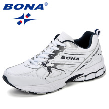 BONA New Designer Fitness Walking Shoes Running Shoes Men Breathable Leather Sneakers Sports Shoes Outdoor Jogging Shoes Man цена