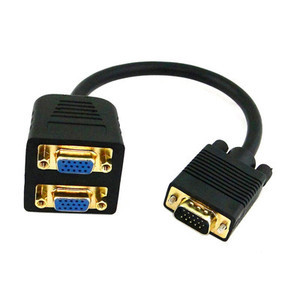 RGB VGA SVGA Male To 2 VGA HD 15 Female Splitter Adapter Extension Cable Black
