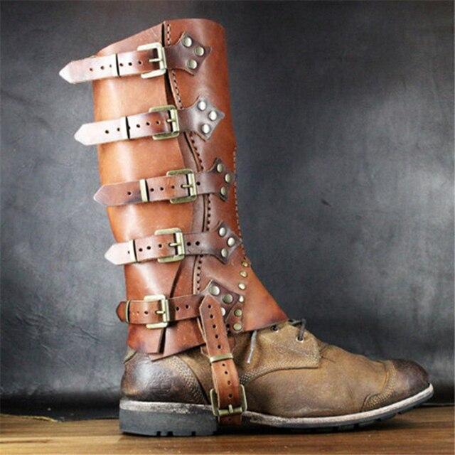 Ortaçağ Retro Kadın Savaşçı Cosplay Asker Şövalye Zırh Ayakkabı Kapağı Bayanlar Zırh Uzun Çizmeler COS ayak koruyucu