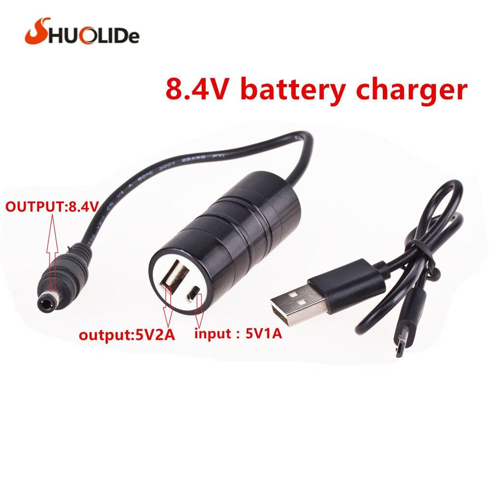 USB Cable de carga de alimentación de 5 V a 8.4 V para Bicicleta luz principal LED 18650 paquete de la batería