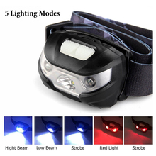 Headlamp LED Rechargeable Running Headlamps USB CREE 5W Headlight Perfect for Fishing Walking Camping Reading Hiking