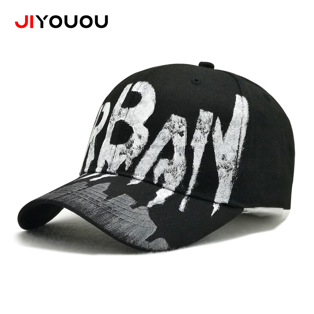 JIYOUOU 2018 new listing of graffiti baseball hat cotton white hand painted  DIY summer hats for women black dad hat snapback cap c0dcc73529f