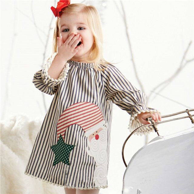 0-5Y Baby Girls Kids Casual Xmas Cotton Blend Tutu Dress Kläder - Barnkläder - Foto 2
