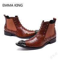 Brown Vintage Pointed Toe Rivets Studded Man Ankle Cowboy Boots Fashion Italian Leather Shoes Man Handmade Slip On Martin Boots