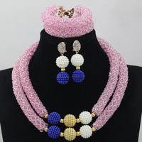 New Exclusive Baby Pink African Women Jewelry Set Indian Party Occassion Beads for Fashion Pink Necklace Set Free ShippingABL812