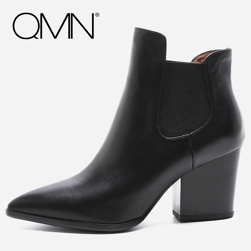 QMN women genuine leather ankle boots for Women Pointed Toe Natural Suede Chelsea Boots Shoes Woman Block Heel Boots Botas Mujer qmn women crystal embellished natural suede brogue shoes women square toe platform oxfords shoes woman genuine leather flats