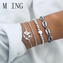 MLING 4 Pcs/Set New Shell Chain Map Beads Bracelet For Women Multilayer Female Party Jewelry